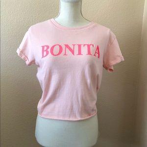 3/30 Occasion pink Bonita graphic tshirt cropped